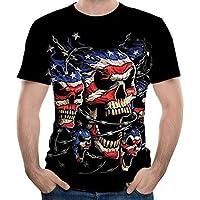 Feng Bandera de la impresión Digital 3D de Hueso de Cuello Redondo de Manga Corta Camiseta de los Hombres de Camisa de Verano,XXL