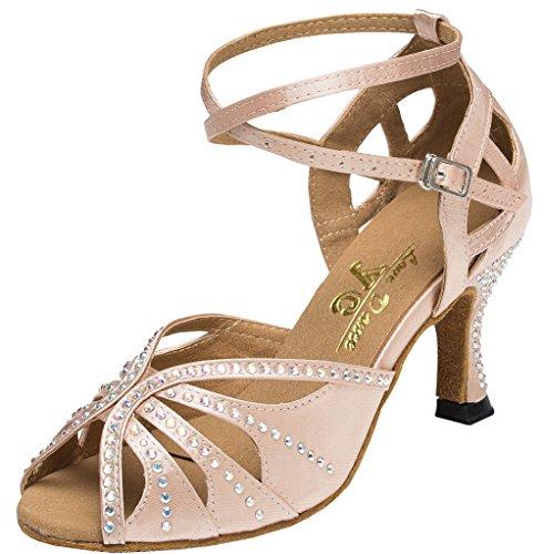 CFP Yfyc-l162 Womens Professional Mode Latin Tango ChaCha Chaton Talon en satin Chaussures de danse - Rose - rose,