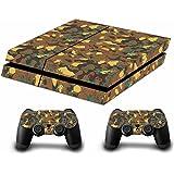 Camouflage Pleins Faceplates Skin Sticker Pour Console PS4 x 1 et le manette x 2 (gold)