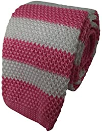 Pink & White Striped Knitted Tie