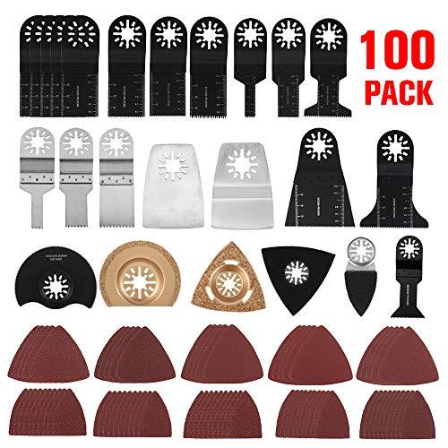 100 hojas oscilantes de sierra multifunción, accesorios oscilantes multiherramienta para Fein Multimaster Dremel Dewalt Makita Einhell para madera, metal, plástico