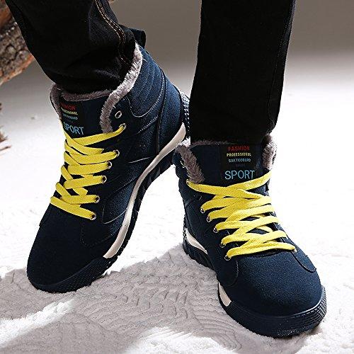 ... Sitaile Mens Scarpe Sportive Pizzo Inverno Scarpe Casual Scarpe Calde  Scarpe Invernali Foderato Nero Verde cc28fa85c08