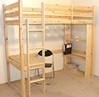 Study Bunk Bed - 3ft single work station bunkbed with table, chair and bookcase