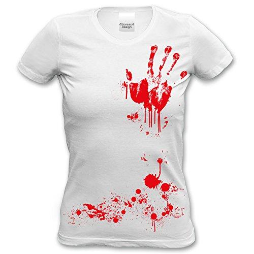 Extrem stylisches Halloween-Girlie-Damen-Fun-T-Shirt als Geschenke-Idee Motiv: Blutige Hand Farbe: weiss Gr: XL (Halloween Ideen Für Damen)