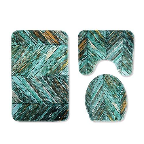 X-Life Badezimmer Matte Set 3 Teilig Rutschfest Muster Badematten Flanell für WC 45x75cm