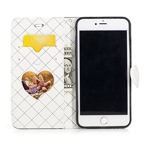 FESELE - iPhone 7 Plus Pelle Cover,iPhone 7 Plus Custodia di Cuoio Flip Stand per iPhone 7 Plus in PU Pelle, Donne/Ragazza Luccichio Elegante Amare Custodia Leather Wallet Portafoglio Cover Esterna co Nero