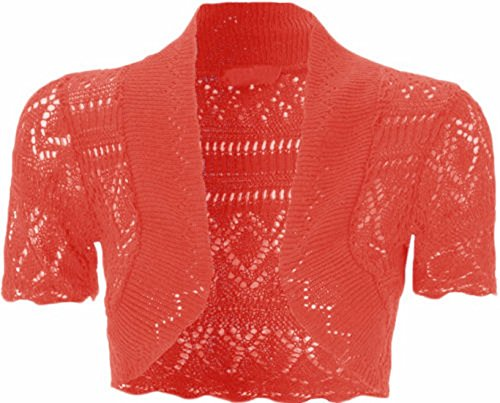 Xclusive NUOVA Ladies Crochet manica corta Shrug maglia Crop Cardigan 8 – 14 Red