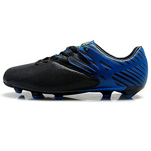 Tiebao Garçons Hommes Antidérapant Pointe Cool Chaussures de Football Pour Terrain Ferme Métier Chaussures de Course de Soccer noir&bleu