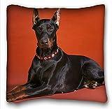 Dana34Malory Dekorativer Kissenbezug für Hundehalsband, Motiv Doberman-Fotos, 46 x 46 cm