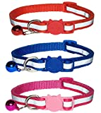 3x Reflective Cat Collars with Bell, Quick Release Safety Buckle, Suitable for All Domestic Cats, Reflective Design Pet Collars, Pack Of 3