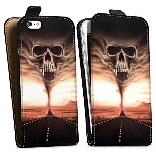 Apple iPhone X Silikon Hülle Case Schutzhülle Skull Wüste Schädel Downflip Tasche schwarz