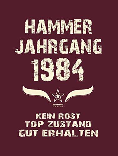 Modisches 33. Jahre Girlie Damen-Oberteil zum Geburtstag Hammer Jahrgang 1984 Farbe: burgund Burgund