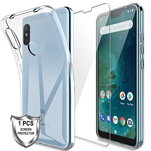 KundL LK Hülle für Xiaomi Mi A2 Lite,Schlanker Weiche Flex Silikon TPU Schutzhülle Case Cover mit Panzerglas Folie[1 Stück] für Xiaomi Mi A2 Lite - Transparent