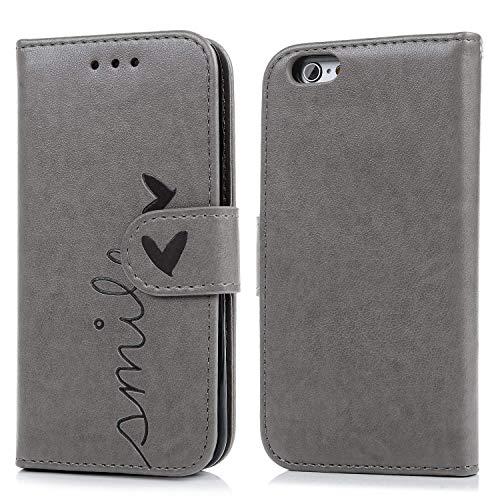 Geniric Handyhülle für iPhone 6S 6 Leder Flip Wallet Cover Stand Case Card Slot Leder Tasche TPU 2 in 1 Design Karteneinschub Magnetverschluß Kratzfestes (Grau kleine Liebe)