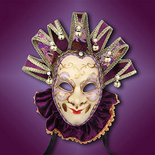 MONWSE Joker Venedig Maske Souvenir Samt Maske Hand Gemalt Lila Venedig Maske Papier Venedig Sammler Decor (Gemalt Auf Kostüm)