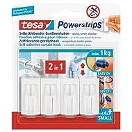Tesa 58034-00007-01 Spar-Set 10x: Powerstrips® Vario-Gardinenhaken weiß WEISS Länge/m: 7,00