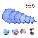 Silicone Stretch Lids, Scoolr 6-Pack of Various Sizes Reuseable Food Storage Covers for Bowl, Can, Jar, Glassware, Food Saver Covers Safe in Dishwasher, Microwave and Freezer (Blue)