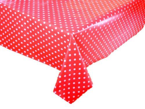 3metros (300x 137cm) rojo de lunares mantel de vinilo fácil de limpiar Tela respaldo (73)