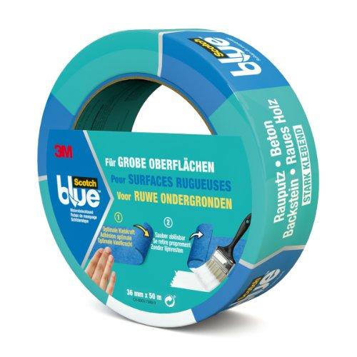Scotch Blue 20963650 Malerabdeckband (Malerkrepp) optimale Klebkraft auf groben Oberflächen, 36 mm x 50 m, blau