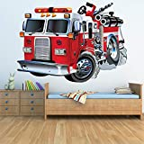 azutura Red Fire Truck Wandtattoo F...