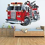 azutura Red Fire Truck Wandtattoo Feuerwehr Wand Sticker Jungen Schlafzimmer Haus Dekor Erhältlich in 8 Größen XX-Groß Digital Test