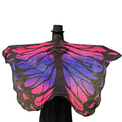 Lenfesh Adulto Mujer Novedad Atractiva Alas de mariposa grandes de color arco iris accesorios hada Chal Bufanda de fiesta elfo hadas (Rosado)