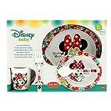 Set micro bébé 5 pièces (Assiette, bol, tasse et couverts) Minnie Mouse Couleur...