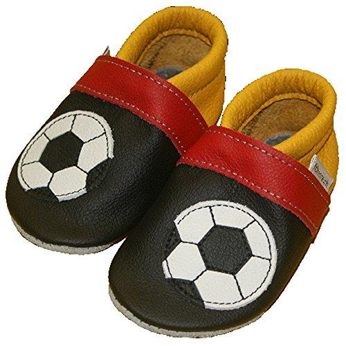 Fußballschuhe Krabbelschuhe sportlich weiches Leder Babyschuhe Ball Schwarz