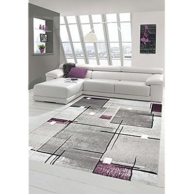 Traum Living Designer Stanza Tappeto Tappeto Moderno, Basso Moquette Contorno Diamanti Taglio Modello Grigio Bianco Viola Größe 80×150 cm