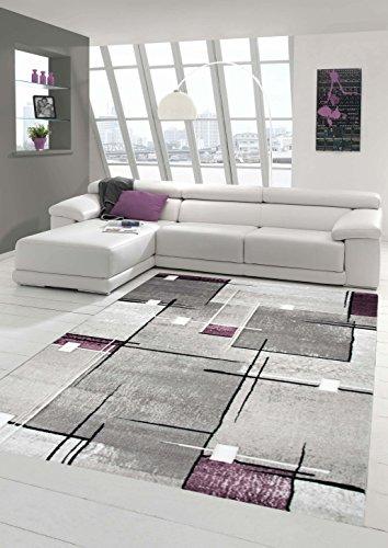 Designer Teppich Moderner Teppich Wohnzimmer Teppich Kurzflor Teppich Konturenschnitt Karo Muster Grau Weiß Lila Größe 160x230 cm