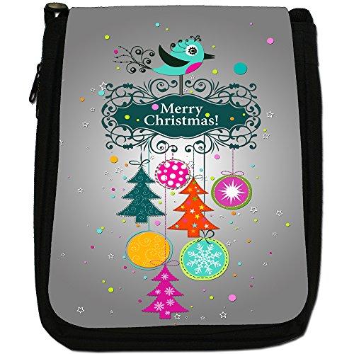 Buon Natale decorazioni Medium Nero Borsa In Tela, taglia M Robin Winter Bird Baubles