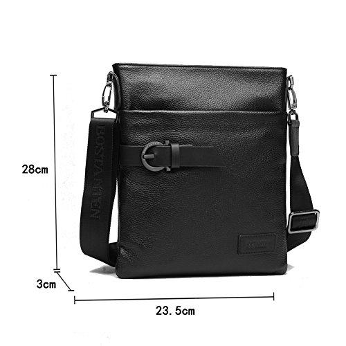 YAAGLE Herren Freizeit rein Rindleder Kuriertasche Schultertasche Umhängetasche Reisetasche Business Taschen -schwarz schwarz