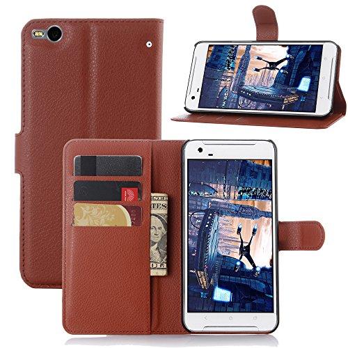 JARNING HTC One X9 Hülle Leder Schutzhülle Schlanke Prämie PU Leder Wallet Flip Case Tasche Stoßsichere Lederhülle Brieftasche Case mit Magnetverschluss Kartenfach und Standfunktion -Braun