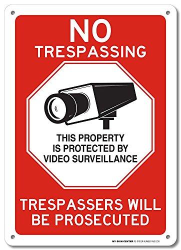 My Schild Center No Trespassing Dieser Eigentum ist durch Video Surveillance Trespassers Werden Verfolgt Schild-Made in USA-25,4x 35,6cm-.040rostfrei Aluminium-A82-230