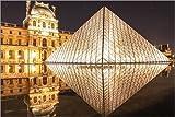 Poster 91 x 61 cm: Glaspyramide des Louvre in Paris bei