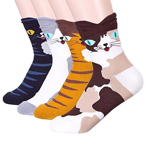 JYsense Damen Socken Einheitsgröße Gr. Einheitsgröße, Cute Cats4Pairs