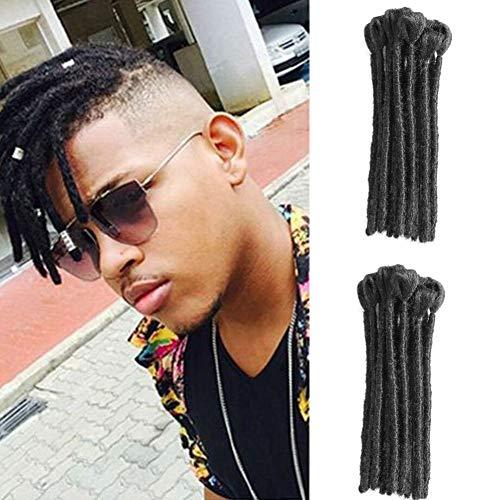Dreadlocks extension 10 fili handmade dreads dreadlocks sintetici crochet intrecciatura capelli soft faux locs moda reggae capelli (8 pollici, natura nera)