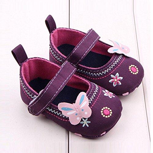 BZLine - Unisexe Bébé Papillon Chaussure à Motif Fleur - Semelle à tissu - Souple (6~12 Mois, Bleu) Violet