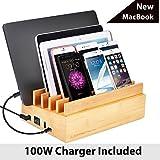 Avantree 100W 10 Ports New MacBook Bambus USB Ladestation für Mehrere Geräte, Schnellladegerät Quick Charge 3.0 & Typ C, für Handy Smartphones und Tablets [2 Jahre Garantie]