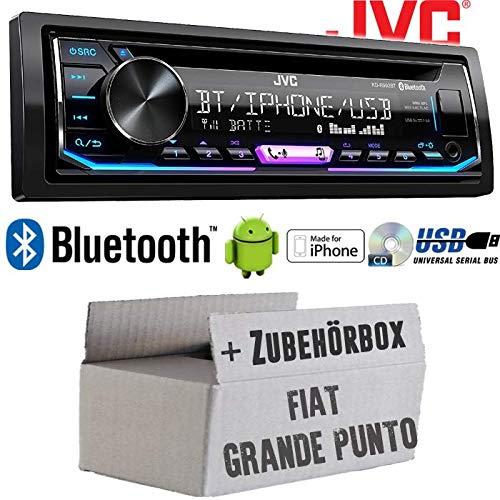 FIAT Grande Punto 199 - Autoradio Radio JVC KD-R992BT - Bluetooth | MP3 | USB | Android | Multicolor - Einbauzubehör - Einbauset