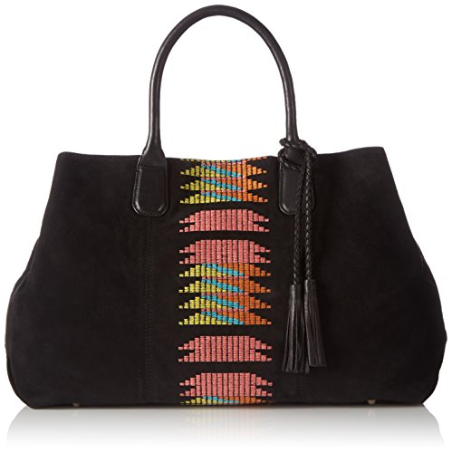 Liebeskind Berlin - Chelsea Embroidery/suede Leather, Borsa shopper Donna Nero (Schwarz (black 9999))