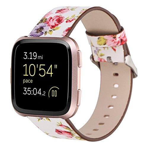 samLIKE Armband | für Fitbit Versa | Leder Band | Blumenmuster Muster | Ersatzarmband | 230MM | 5 Beliebte Stile (❤️ Weiß)