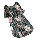 Heiß! Damen Kleid Yesmile Frauen Frühling Sommer Lose Halbe Hülse Minikleid Blumendruck Bowknot Ärmeln Cocktail Minikleid Casual Party Kleid (L, Grau-D)