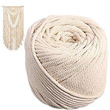 kekai Cuerda de algodón de 5 mm Macrame Trenzado cordón Beige para Hacer Joyas, Libros