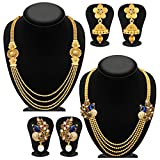 Sukkhi Pretty 4 String Gold Plated Set of 2 Necklace Set Combo For Women
