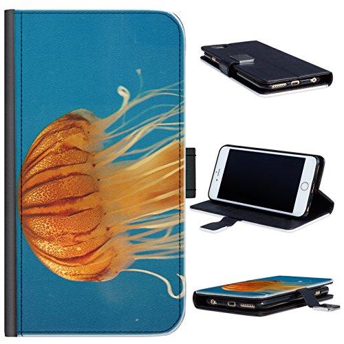 Hairyworm - BG0182 Orange Quallen im Meer Samsung Galaxy A5 (2015) Leder Klapphülle Etui Handy Tasche, Deckel mit Kartenfächern, Geldscheinfach und Magnetverschluss. Samsung Galaxy A5 (15) Fall (Quallen Orange)