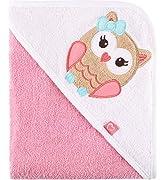 Be Mammy Kapuzenhandtuch Babyhandtuch aus Baumwolle Oeko-Tex Standard 100 100cm x 100cm BE20-240-BBL (Rosa - Eule)
