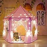 SOULONG Tente de Jeu Intérieur Tente Château de Princesse Princesse avec 6M 40pcs Lampes Étoile de Couleur pour Enfant, 139.7 x 134.6cm