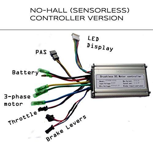 36V 250W Ebike Controller, No-hall contrôle Normal, Type de câble