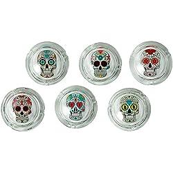 Cenicero de cristal de colores de diseño de calavera